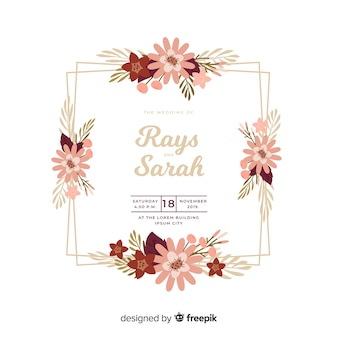 Beautiful flat design of floral frame wedding invitation