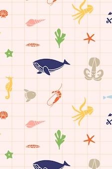 Bella illustrazione di design piatto di elementi marini