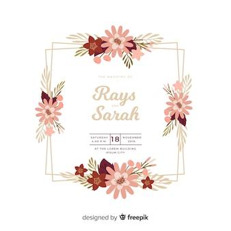 꽃 프레임 청첩장의 아름 다운 평면 디자인