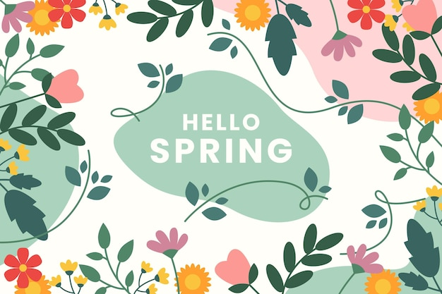 Beautiful flat design spring background with flowers