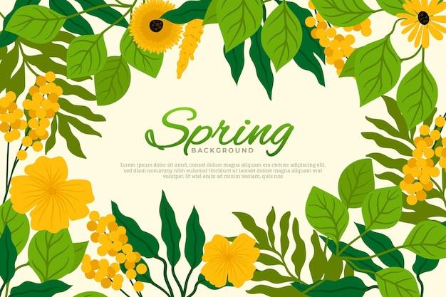 꽃과 아름다운 평면 디자인 봄 벽지