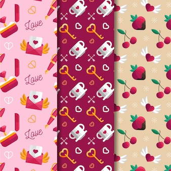 Beautiful flat design valentine's day pattern collection