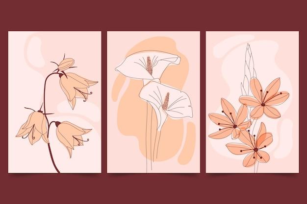 아름다운 평면 꽃 카드