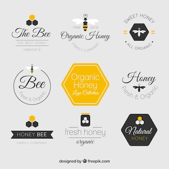 Beautiful flat honey logos