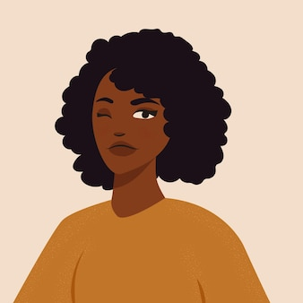 아프리카 머리를 가진 흑인 소녀 초상화의 아름다운 평면 그림