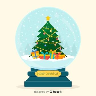 クリスマスコンセプトの美しいフラットスノーボールグローブ