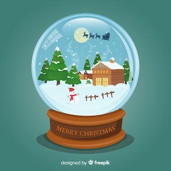 Beautiful flat snowball globe