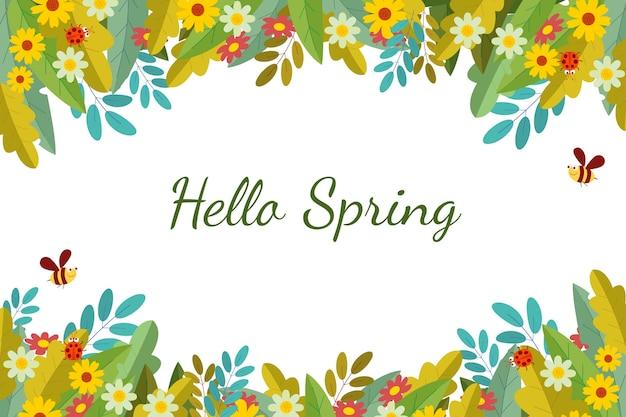 Красивый плоский весенний фон с цветами