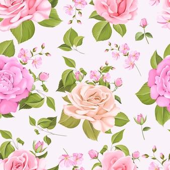 아름 다운 꽃과 나뭇잎 원활한 패턴