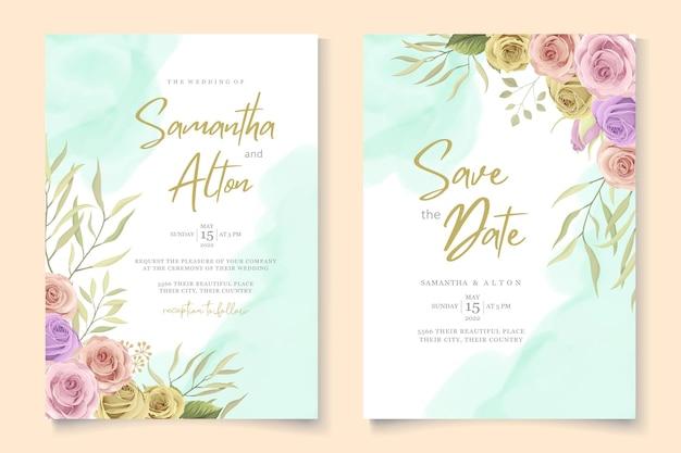 美しい花と葉のウェディングカードのデザイン