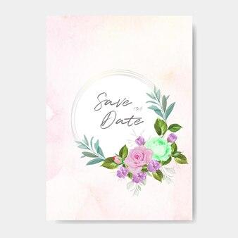 아름 다운 꽃과 나뭇잎 결혼식 초대 카드