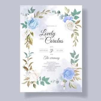 美しい花と葉の結婚式の招待カード