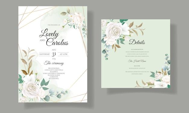 Красивые цветочные и листья свадебные приглашения