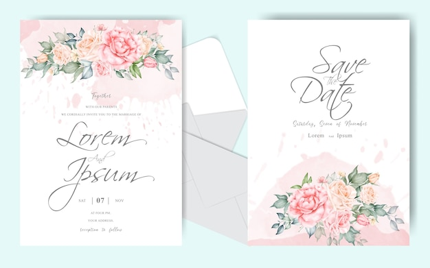 Beautiful floral arrangement wedding invitation card set template