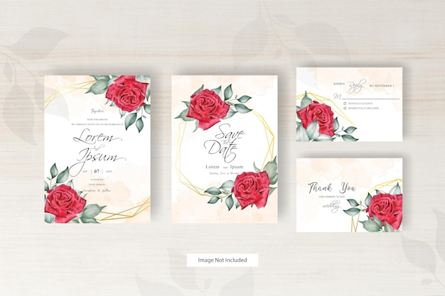 수채화 스플래시와 기하학적 결혼식 초대 카드 템플릿 아름다운 꽃 배열