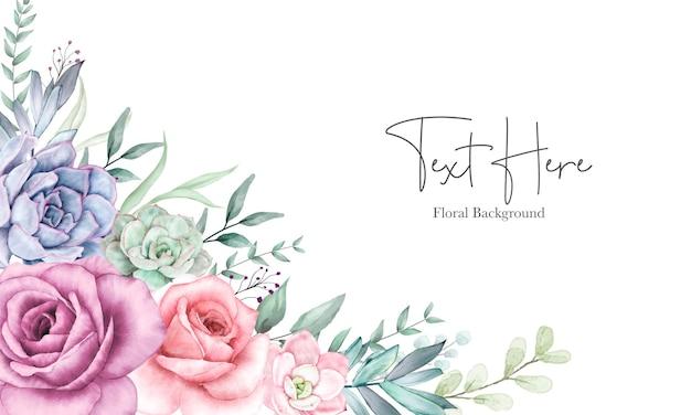 水彩花飾りと美しい花の背景デザイン