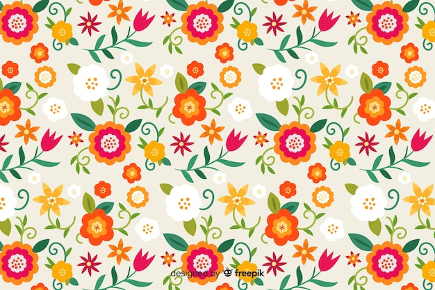 Beautiful floral background in flat design