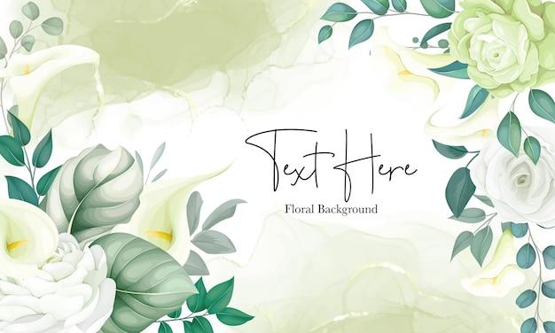 美しい花の背景白いユリとバラ