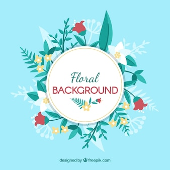 Beautiful floral background with flat design