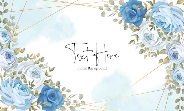Beautiful floral background with hand drawn blue peonies decoration