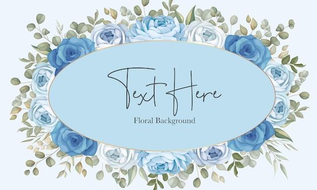 手描きの青い牡丹の装飾と美しい花の背景