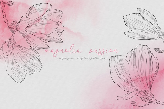 Beautiful floral background with magnolias