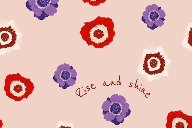 心に強く訴える引用と美しい花のバナーテンプレートアネモネイラスト