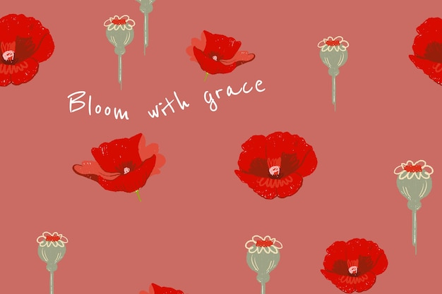心に強く訴える引用と美しい花のバナーテンプレートポピーのイラスト