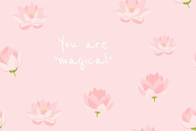 心に強く訴える引用と美しい花のバナーテンプレートベクトル蓮のイラスト