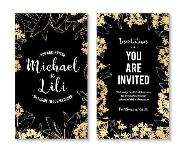 美しい花のバナーを設定します。デザインや招待状の要素の要素