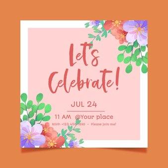 美しい花の誕生日カード