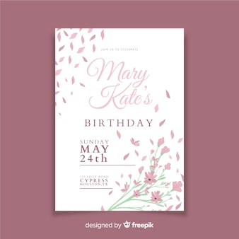 Beautiful floral birthday invitation template