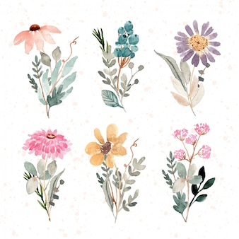 Beautiful floral bouquet watercolor collection