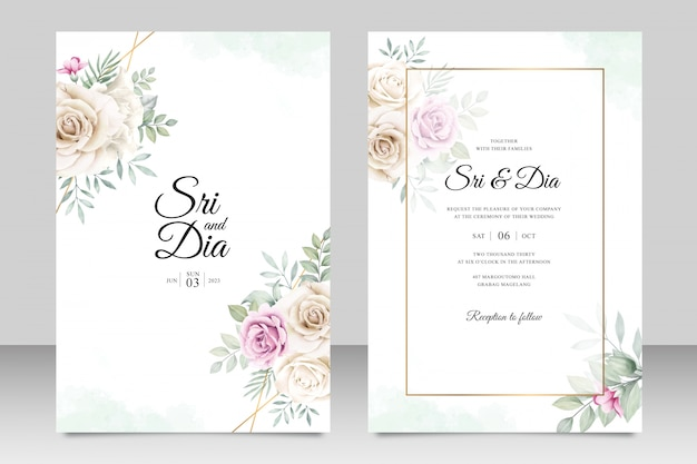 Beautiful floral bouquet on wedding card template