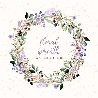 Beautiful floral and branches watercolor wreath