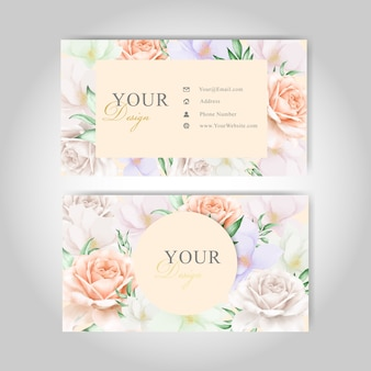 美しい花名刺テンプレートカード