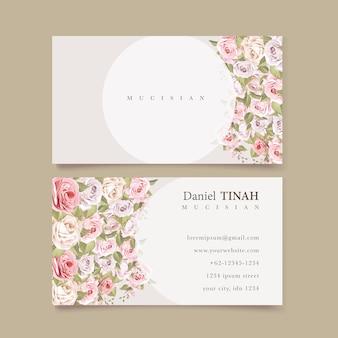 Красивый цветочный шаблон визитной карточки