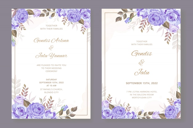 Beautiful floral card with golden frame