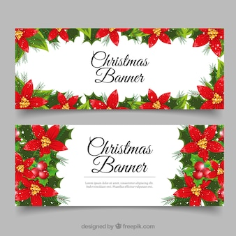 Beautiful floral christmas banners