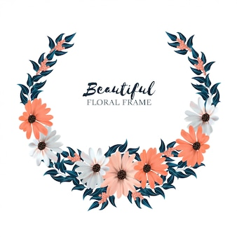 Beautiful floral circle frame