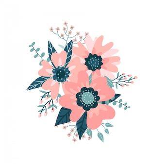 Красивая цветочная композиция с цветут цветы и листья, ягоды, ветви на белом фоне.