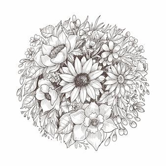 美しい花の構成の装飾的なスケッチ