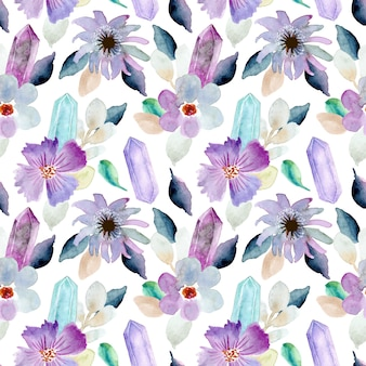 Beautiful floral and crystal watercolor seamless pattern