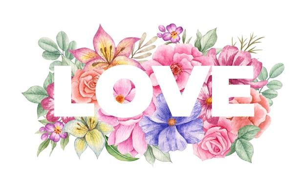 バレンタインデーのグリーティングカードへの愛の美しい花の装飾