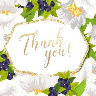 Beautiful floral design thank you card. vector illustration