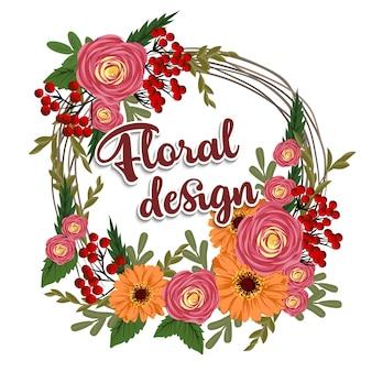 Красивый цветочный дизайн. векторная иллюстрация