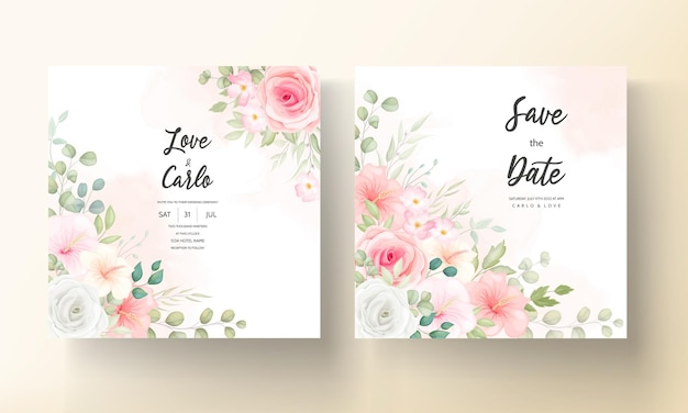 아름 다운 꽃 디자인 청첩장 카드