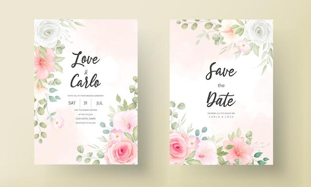 Свадебное приглашение с красивым цветочным дизайном