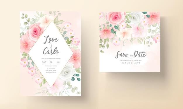 美しい花柄の結婚式の招待カード