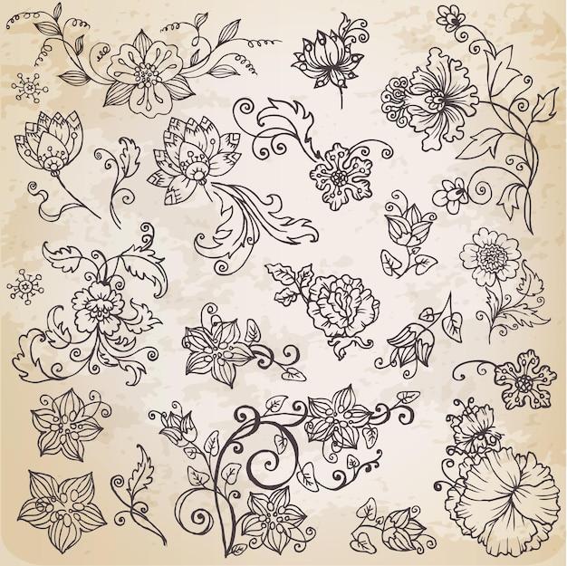 아름다운 꽃 요소-손으로 그린 복고 꽃, 잎 및 장식품